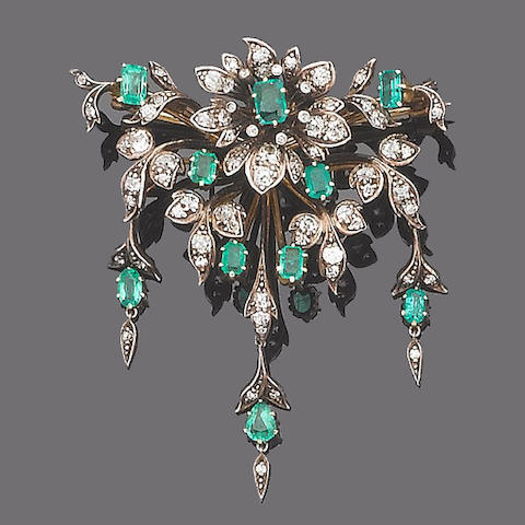 A late 19th century emerald and diamond brooch