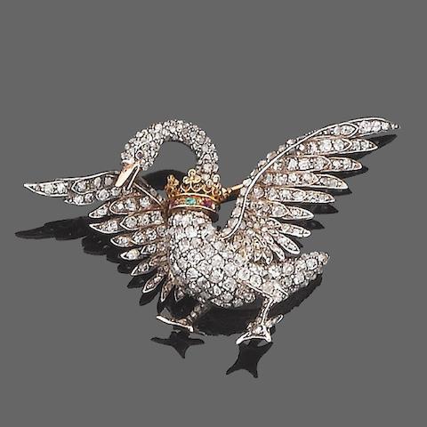 A late 19th century diamond swan brooch,