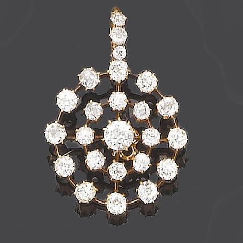 A late 19th century diamond pendant