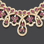 A ruby and diamond necklace, bracelet, ring and earring suite (4) (partially illustrated)
