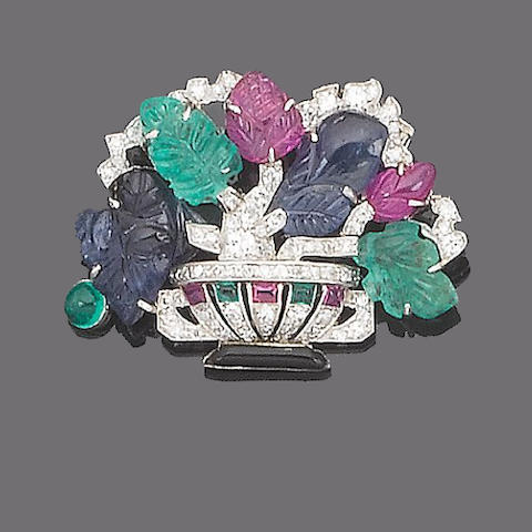 An art deco gem-set giardinetto brooch,