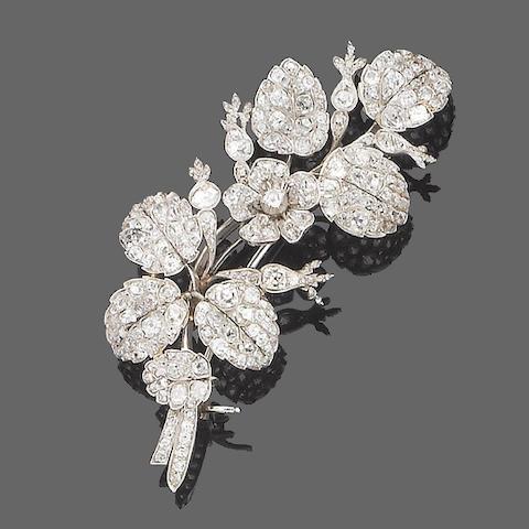 A mid 19th century diamond spray brooch