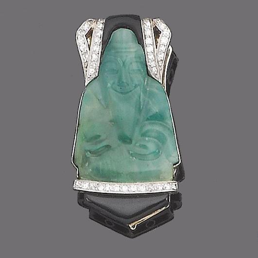 An enamel, diamond and jade simulant clip brooch