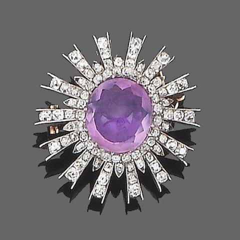 An amethyst and diamond brooch