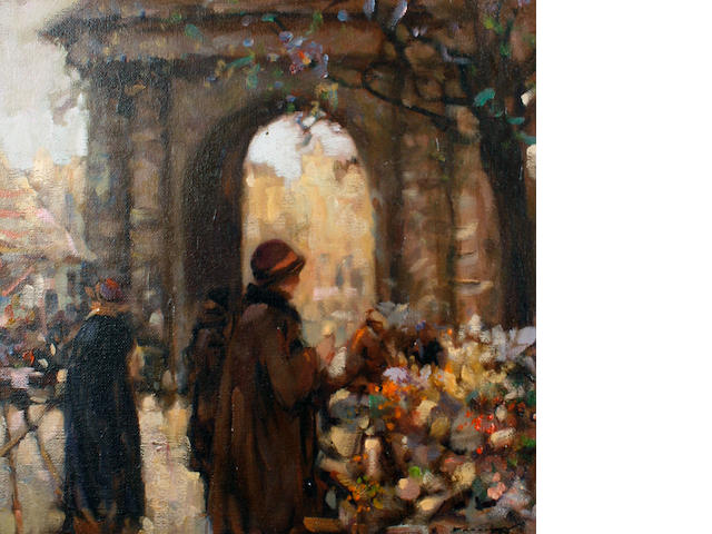 Ken Moroney (British, born 1949) The flower stall