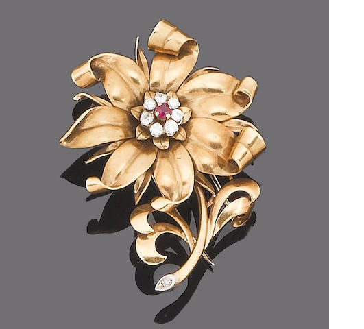 A ruby and diamond floral brooch,