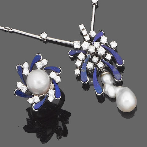 A cultured pearl, lapis lazuli and diamond necklace, earring and ring suite, (3) (partially illustrated)