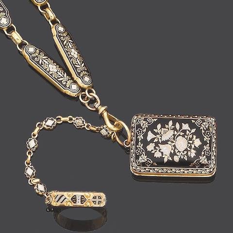 An enamel longchain, vinaigrette locket and ring