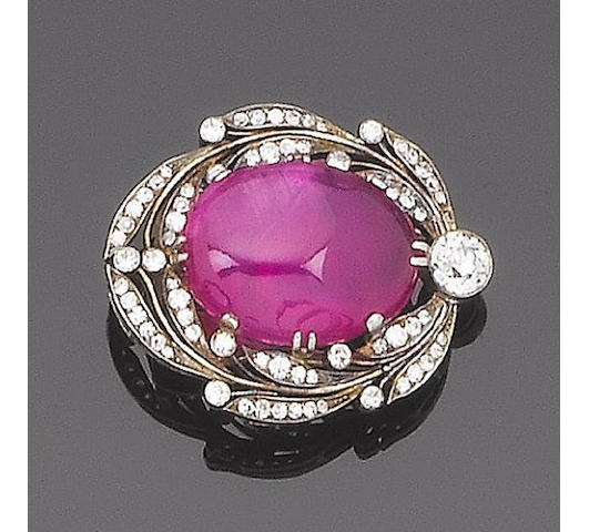 A ruby and diamond clip