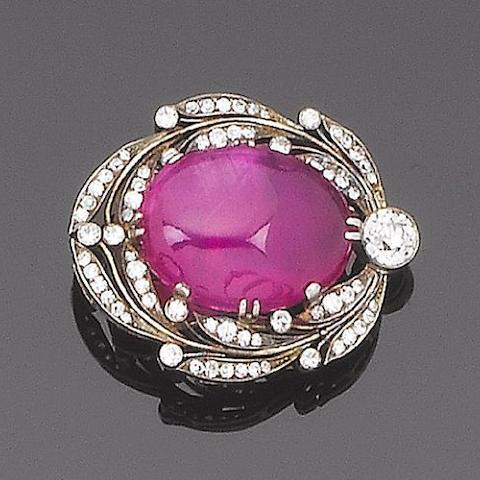 A ruby and diamond clip