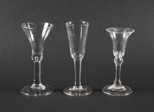 Three plain bowl wine glasses Circa 1750-60.
