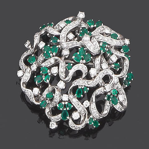 An emerald and diamond brooch/pendant, ring and earring suite (3) (partially illustrated)