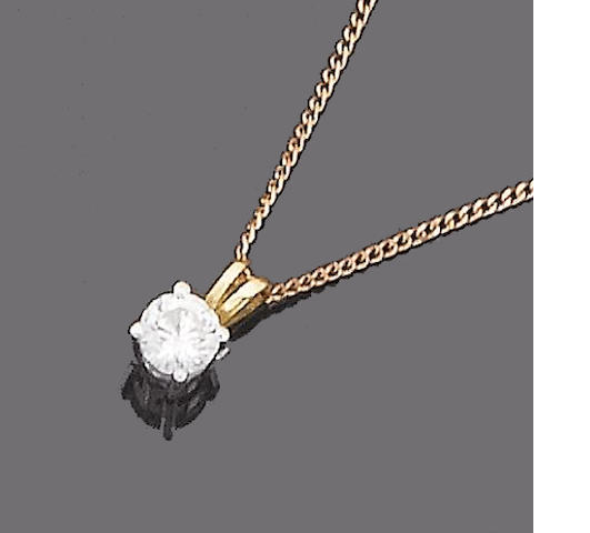 A single-stone diamond pendant necklace