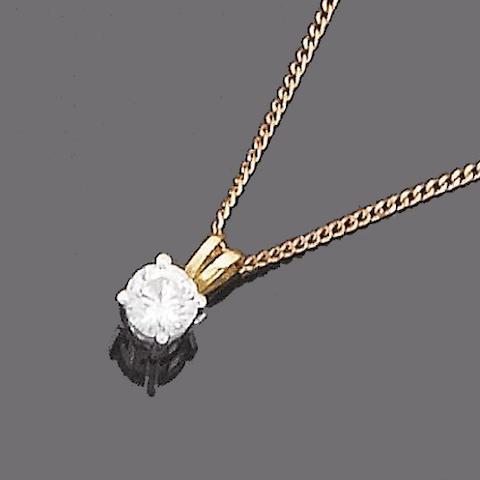 A single-stone diamond pendant necklace