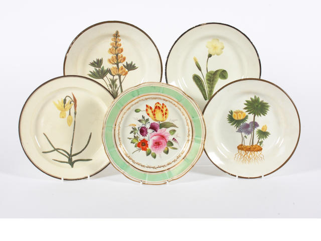 Four botanical plates, and a pearlware plate 19th Century.