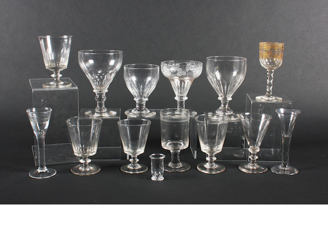 A collection of fourteen various drinking glasses Late 18th-early 19th Century.