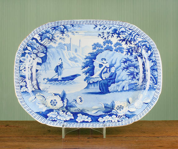 A Carey's 'Lady of the Lake' blue printed platter