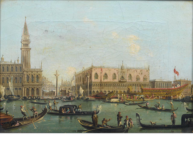 Manner of Antonio Canal, called il Canaletto The Doge's Palace, Venice, with the Bucintoro; and The entrance to the Grand Canal, Venice,  (2)