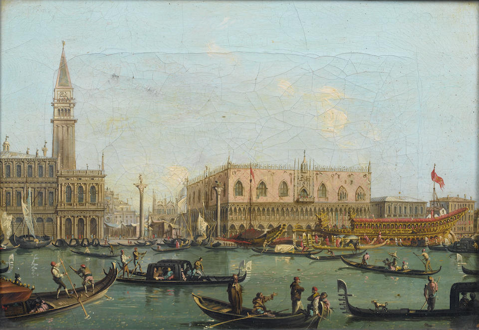 Attributed to Carlo Grubacs (Dalmatia 1810-circa 1870 Venice) The Doge's Palace, Venice, with the Bucintoro; and The entrance to the Grand Canal, Venice, (2)