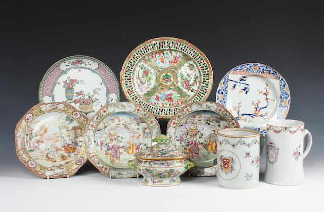 A Chinese export sauce tureen and cover, a pair of dishes, two mugs and four other plates 18th-19th Century.