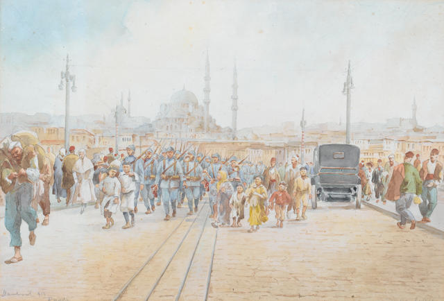 J. Pavlikevitch (Russian, active circa 1900) The Galata Bridge, Constantinople
