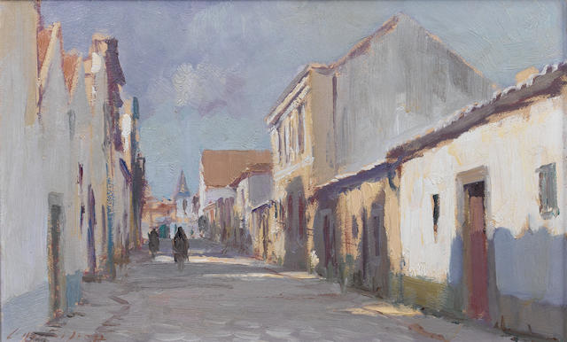Edward Seago, R.W.S. (British, 1910-1974) Street Scene, Cascais, Portugal 25.3 x 40.3 cm. (10 x 16 in.)