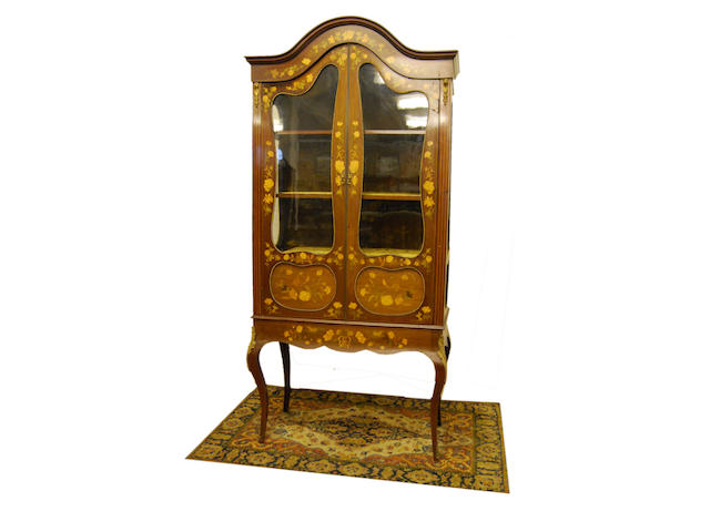 A mahogany and Dutch-style floral marquetry display cabinet, late 19th Century