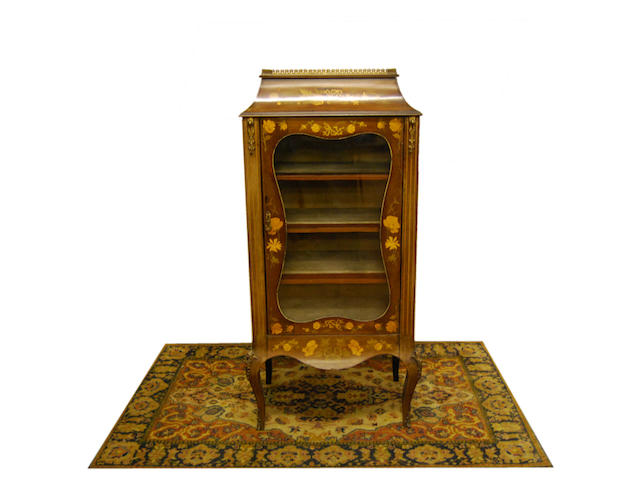 A mahogany and floral marquetry display cabinet, late 19th Century
