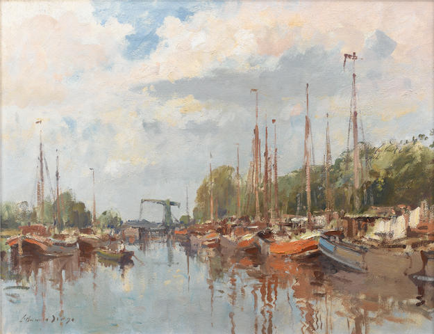 Edward Seago, R.W.S. (British, 1910-1974) The Alkmaar Canal, Amsterdam 51 x 66 cm. (20 x 26 in.)