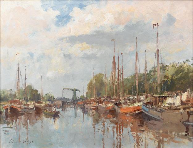 Edward Seago, R.W.S. (British, 1910-1974) The Alkmaar Canal, Amsterdam 51 x 66 cm. (20 x 26 in.)