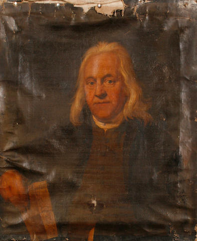 English School, 18th Century Portrait of a grey haired man, half length, holding a letter