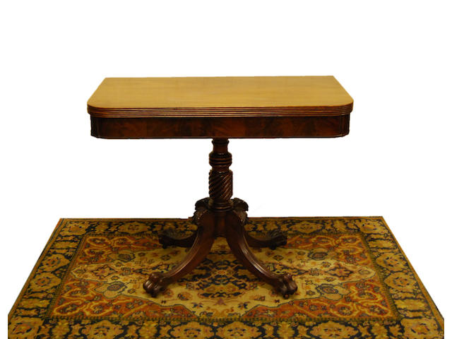 A Regency mahogany fold-over tea table