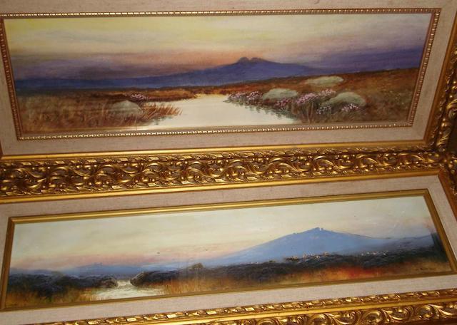 Graham A pair of Dartmoor views 13cm x 55cm. (2)