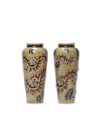 George Tinworth for Doulton Lambeth A pair of stoneware Vases, 1878