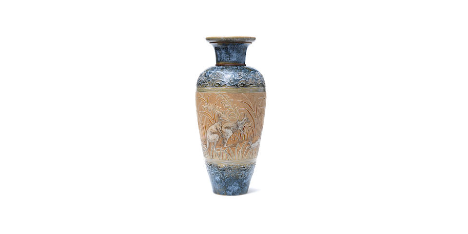 Hannah Barlow for Doulton Lambeth An outstanding vase with Kangaroos, circa 1890