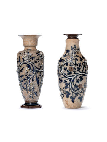 George Tinworth for Doulton Lambeth Two stoneware Vases, circa 1900