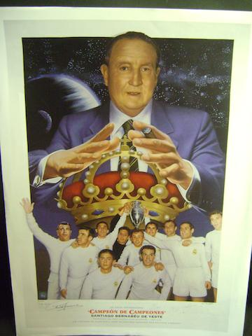 Real Madrid 'Campeon De Campeones' limited edition hand signed lithograph