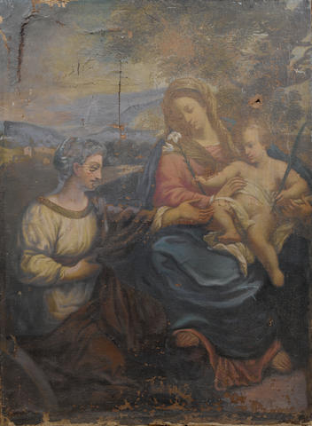 Circle of Carlo Maratta (Camerano 1625-1713 Rome) The Madonna and Child with Saint Catherine unframed