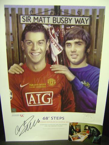 Cristiano Ronaldo/George Best '68 steps' hand signed artist's proof lithograph