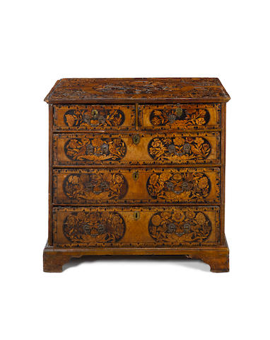 A William and Mary walnut and sycamore marquetry Chest