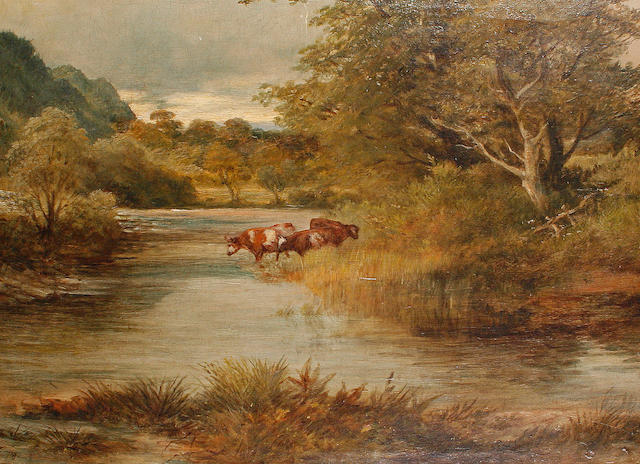 John Syer, RI (British, 1815-1885), John Syer - Cattle watering, o/c Cattle at watering place.
