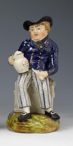 A pearlware 'American Sailor' Toby jug  circa 1820