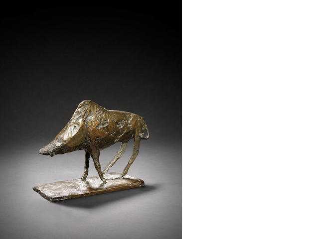 Dame Elisabeth Frink R.A. (British, 1930-1993) Boar 21 cm. (8 1/4 in.) long (including base)