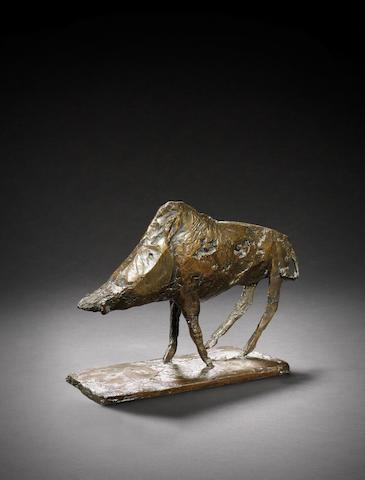 Dame Elisabeth Frink R.A. (British, 1930-1993) Boar 21 cm. (8 1/4 in.) long (including base)