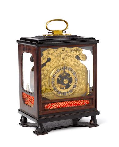 A rare signed shitan cased makura dokei with alarm circa 1840  *****************