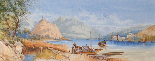 Attributed to Anne Burrell Smith (c. 1870) A Continental lake scene