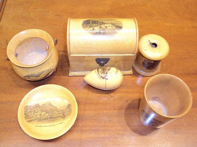 A group of eleven transfer printed Mauchline ware