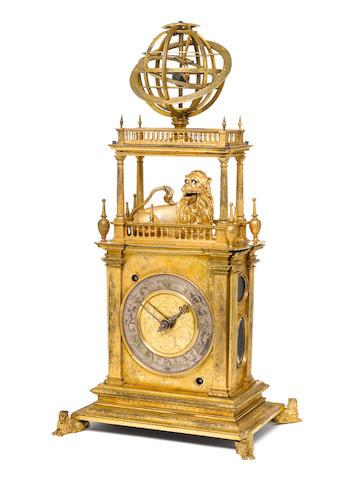 A 17th Century gilt brass table clock