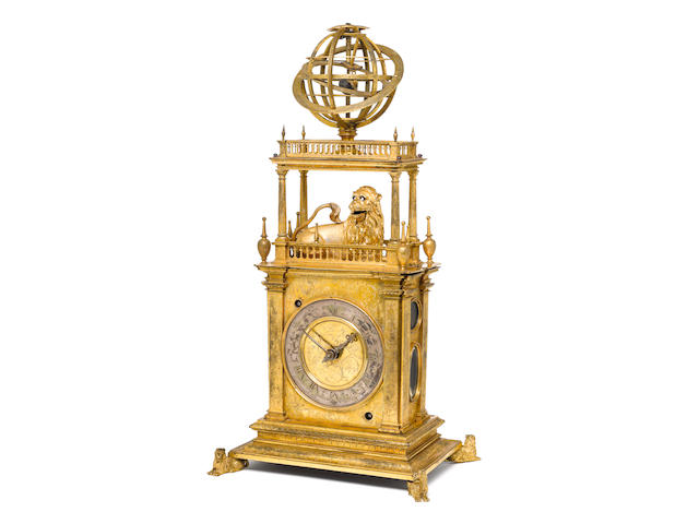 A very rare and important first half of the 17th Century continental gilt brass automata table clock with geared armillary sphere