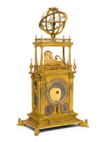 A 17th Century gilt brass table clock